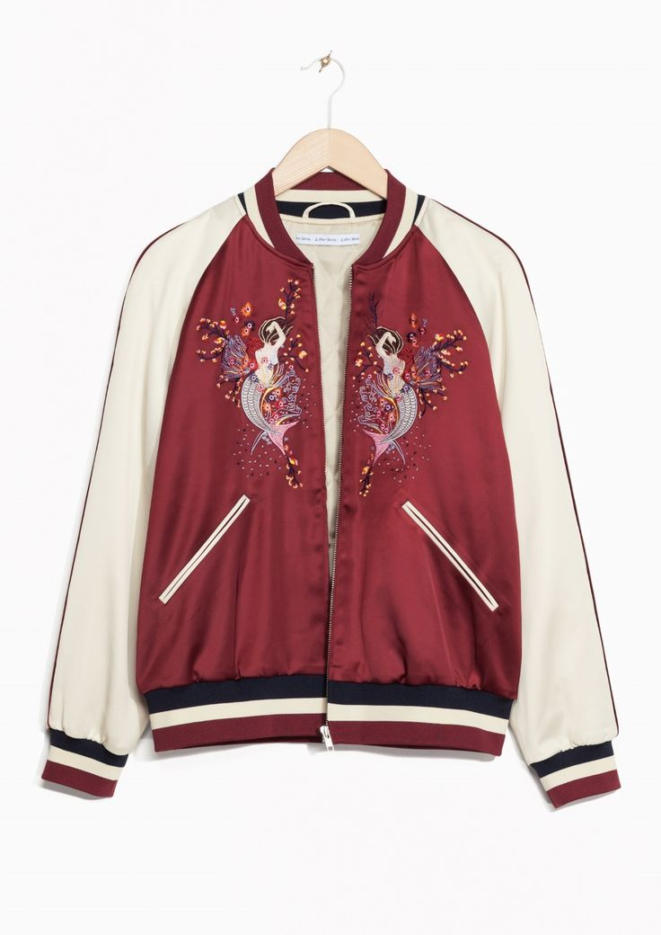 & Other Stories image 1 of Embroidered Bomber Jacket in Red