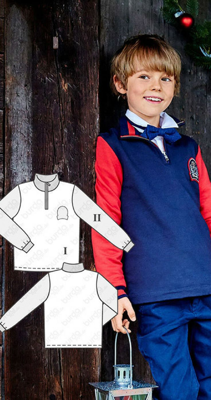 One for the boys to get a lot of mileage! Wear this two-color shirt with the ribbed cuffs dressed up with a proper collar shirt and bow tie or on its own with jeans. This style also works to add an iron-on transfers.Boy's sweater sewing pattern available for download afflink