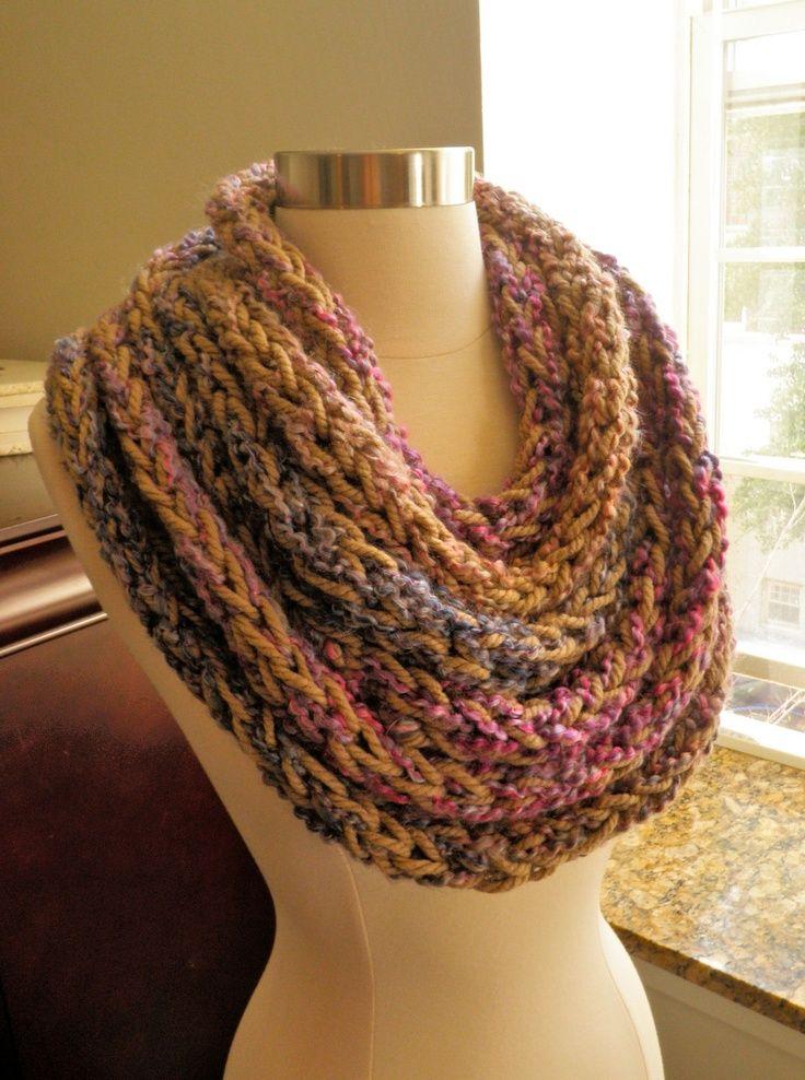 Finger Knit Infinity Cowl | Finger knitting, Finger and ...