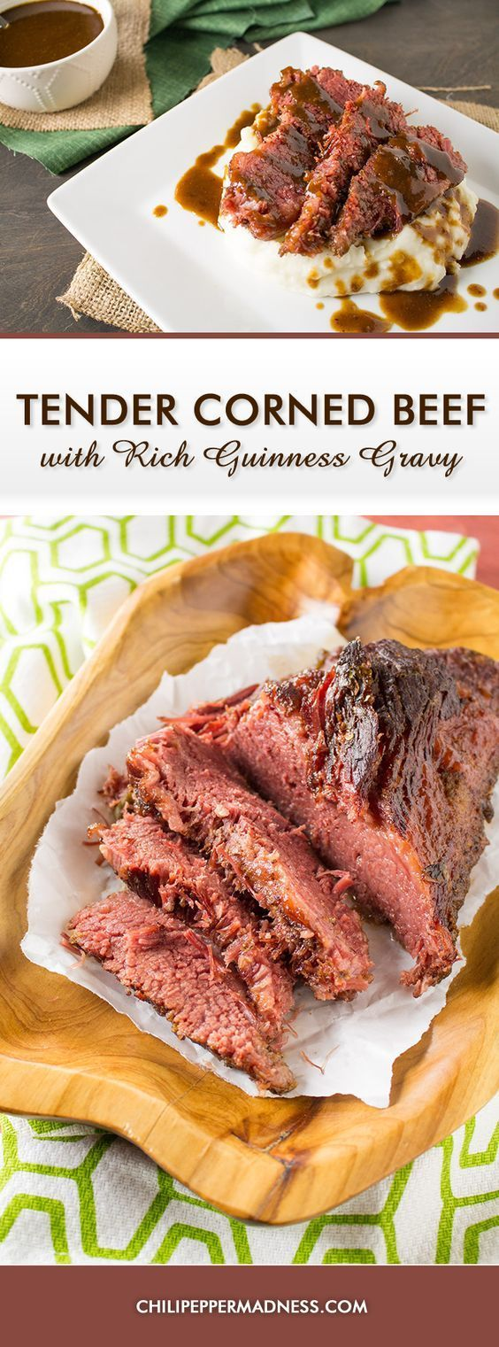 Slow Cooked Corned Beef with Spicy Guinness Gravy and Caramelized Cabbage - A recipe for corned beef, cooked low and slow, then served with a rich, creamy, and slightly spicy gravy made with Guinness beer and habanero peppers. This is NOT your traditional