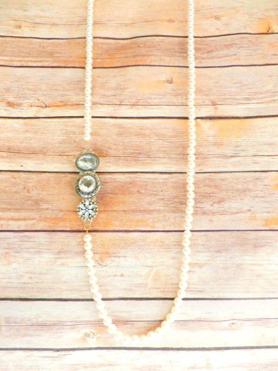 Romantic Sparkles Love Pearls Long Layering Necklace