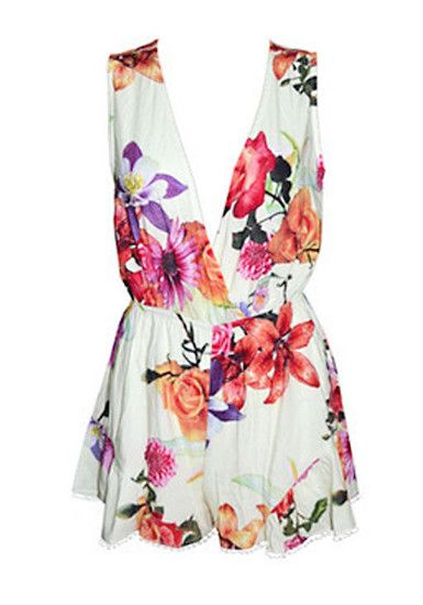 """""""V"""" Front Floral Romper. I'm gonna have a colorful and fun summer! :)"""