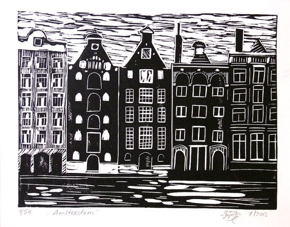 Hand Printed Lino Cut Print  Amsterdam  Limited by LinoPrint, $20.00