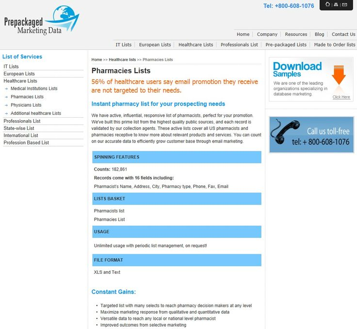 Pharmacies lists from prepackaged marketing data http