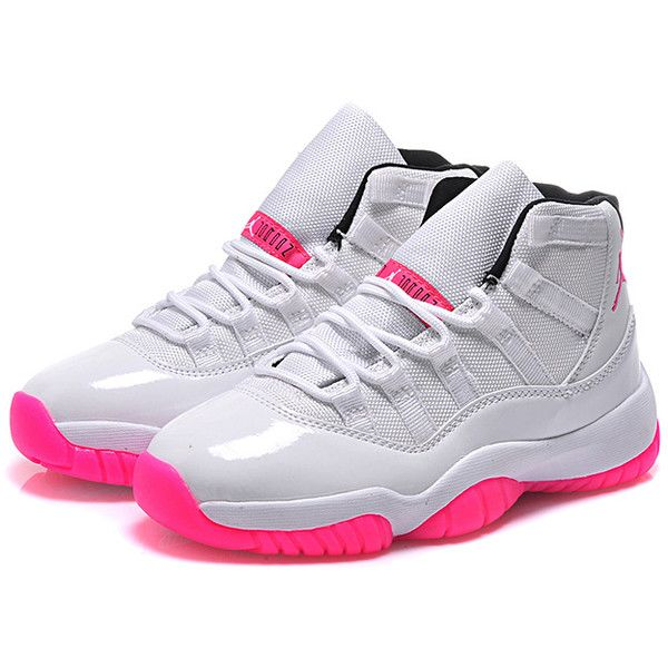 Womens Air Jordan 11 GS Pink White Online For Sale ❤ liked on Polyvore featuring shoes and jordan