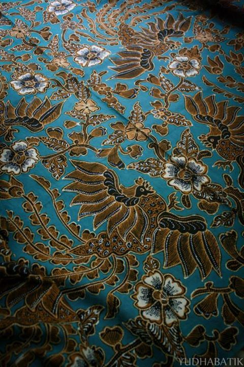 "Sawunggaling, the detail. Sawunggaling named after a local hero who sacrifice his life for many people. The design itself inspired by ""sabung ayam"" or cock fight culture in Bali, and then drawn onto a fabric as a pairs of partridge and decorated with floral around it - Pekalongan, Central Java"