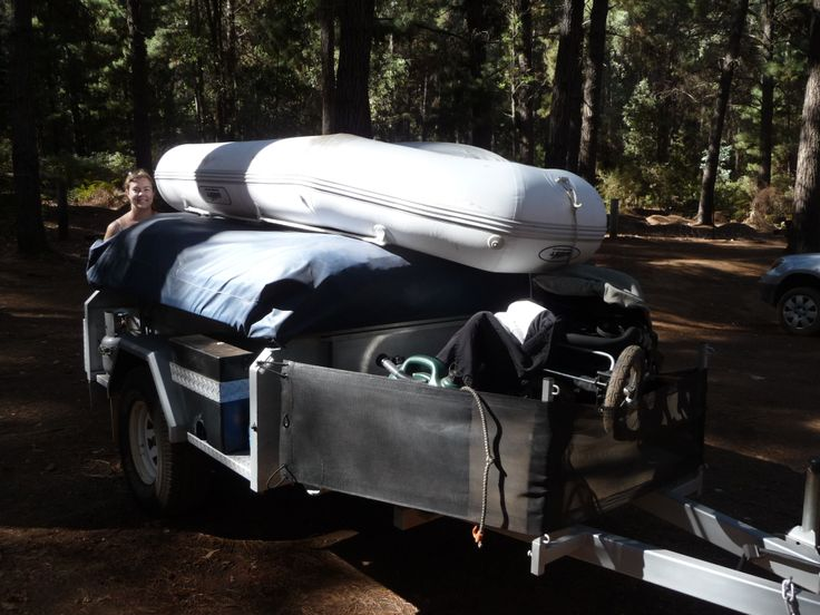 Inflatable roll up on the camper trailer