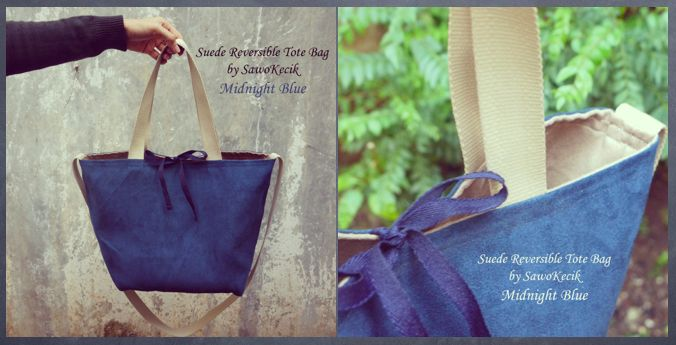 "Suede Reversible Tote Bag ""Midnight Blue"""