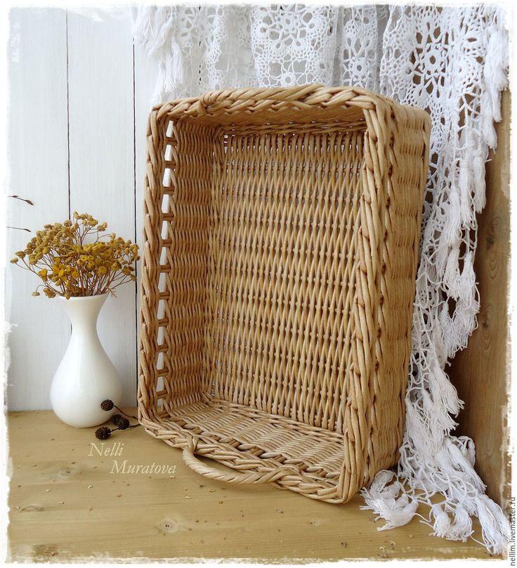 """Купить Поднос плетеный """"Милый дом"""" - светло-коричневый поднос, поднос плетеный, прямоугольный поднос"""