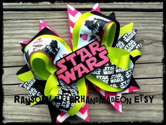 Star Wars Hair Bow Lime and Pink Chevron Ribbon Girls Birthday Party Halloween Costume Darth Vader Han Solo Skywalker Movie Feltie Dress