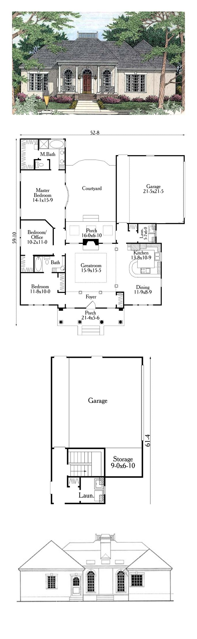 16 best images about colonial house plans on pinterest for House plans with columns