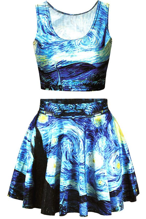 Vincent Van Gogh Starry Night Crop Top by & Skater Skirt by leggingscube