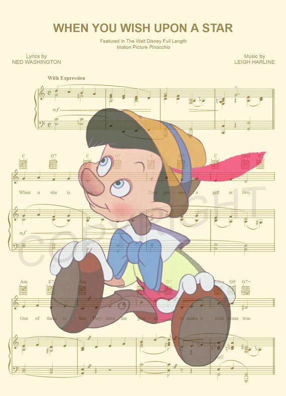Impression d'Art Pinocchio partition de musique par AmourPrints