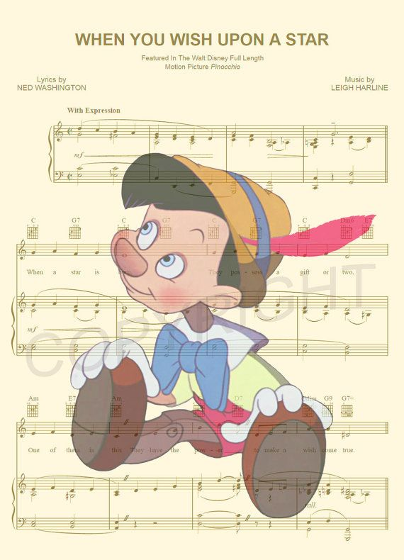 Here is a sheet music art print of Pinocchio from Disneys Pinocchio on the sheet music for the song When You Wish Upon A Star. This is perfect for any Pinocchio/Disney fanatic!  We print this on quality ivory card stock paper, which measures approximately 8.5x11, and ship it in a heavy-duty envelope to ensure it arrives intact. FRAME NOT INCLUDED.  11x17 Poster: $20.00 18x24 Poster: $30.00 24x36 Poster: $45.00  Take advantage of our Buy 2 Prints, Get 1 Free special! Simply purchase any t...