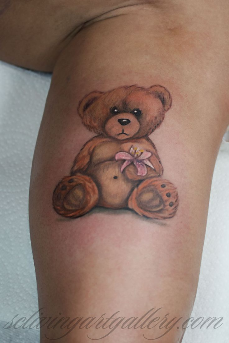 Brush Realistic Teddy Bear Tattoo By Monte Livingston At