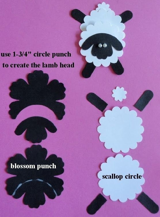 "By Crystal Rood. Punch Art Sheep from 1 3/4"" circle punch, blossom punch, and 1 3/4"" scallop circle punch. So cute!"
