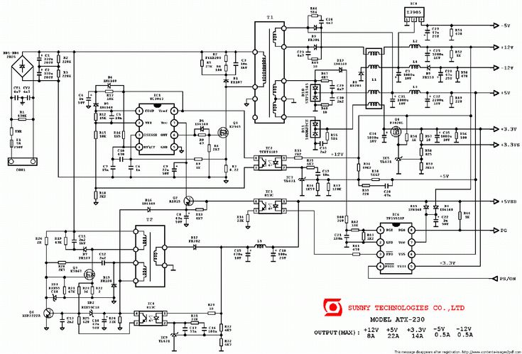 Click on the link for free download! This picture is a preview of SUNNY ATX-230 PC POWER SUPPLY SCH