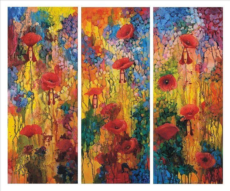 Poppies Ladies 3 x 100x40cm, acrylic, cancas Krzysztof Lozowski