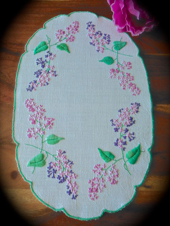 Check out this item in my Etsy shop https://www.etsy.com/uk/listing/480976593/hand-embroidered-vintage-lilacs-linen