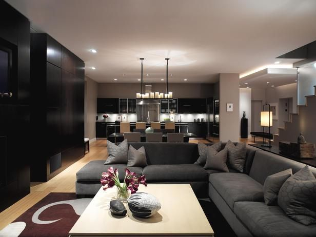 Grey and Beige living room with ceiling highlight