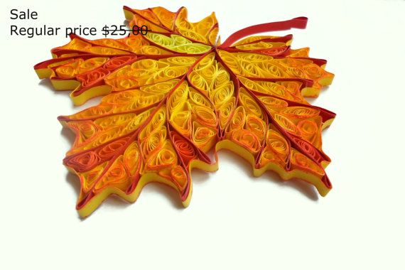 Sale Quilled Home decor, Fall Decorations, Autumn leaves, Wood Decor,  Rustic Decor,  paper quilling, set of 2 pieces