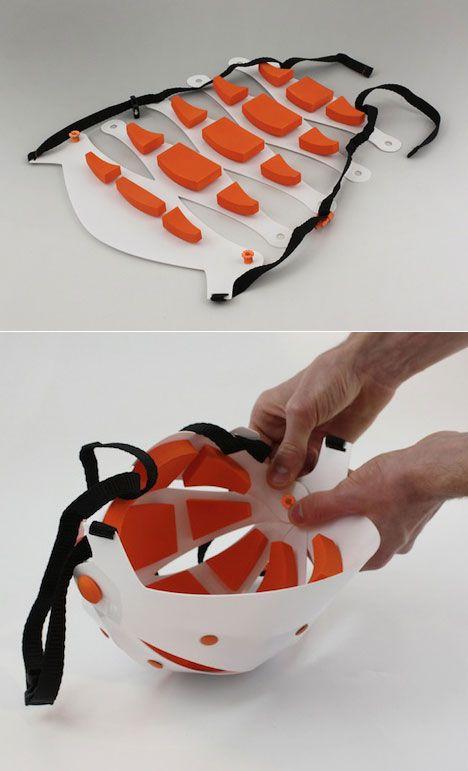Julien Bergignat and Patrice Mouille's Tatoo Helmet folds flat for storage // Product Design #productdesign