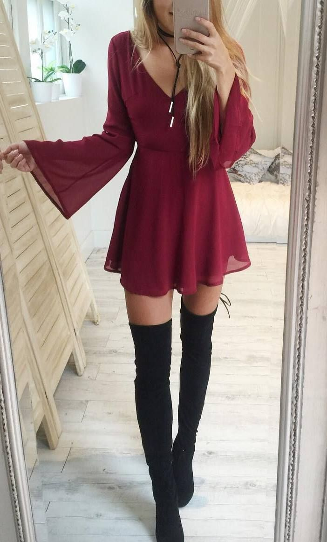 stylish look | maroon dress + black over knee boots