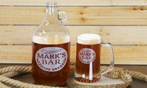 Groupon - Monogram Online Personalized Beer Growler & Beer Mug. Groupon deal price: $14.99