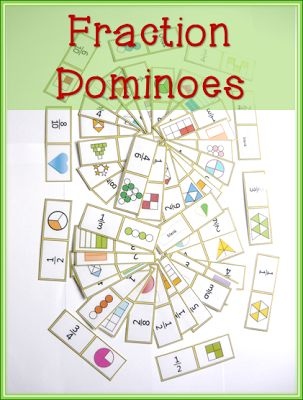 Fraction Dominoes matching card game for equivalent fractions $