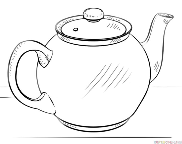 How to draw a teapot step by step Drawing tutorials for