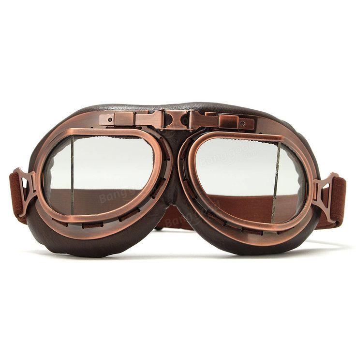 Vintage Pilot Helmet Steampunk Copper Motorcycle Scooter Helmet Glasses Goggles Anti UV Sale - Banggood.com