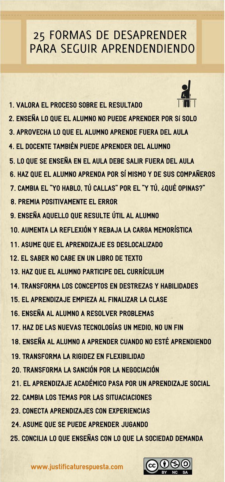 25 normas de  Desaprender para seguir aprendiendo
