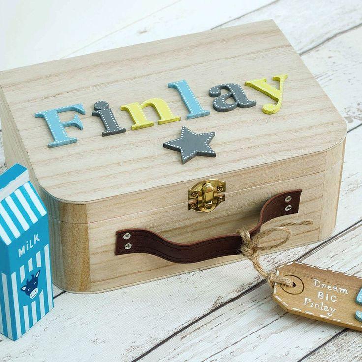 Personalised Baby Memory Box Keepsake Box Children's suitcase style Memory Box New Baby Gift Birthday Gift Personalised Memory Box by Popsyclunk on Etsy
