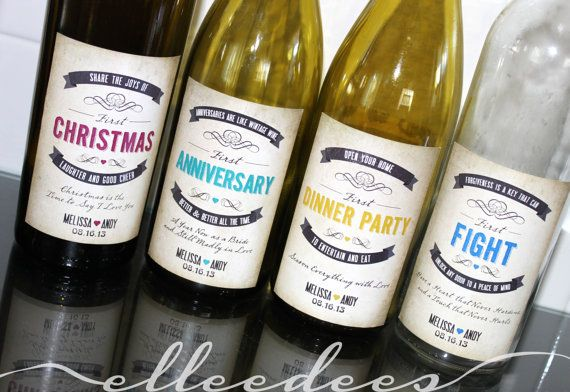 4 Custom First's Adhesive Wine Labels for Bridal Shower Gift, Wedding Gift, Newlywed Gift
