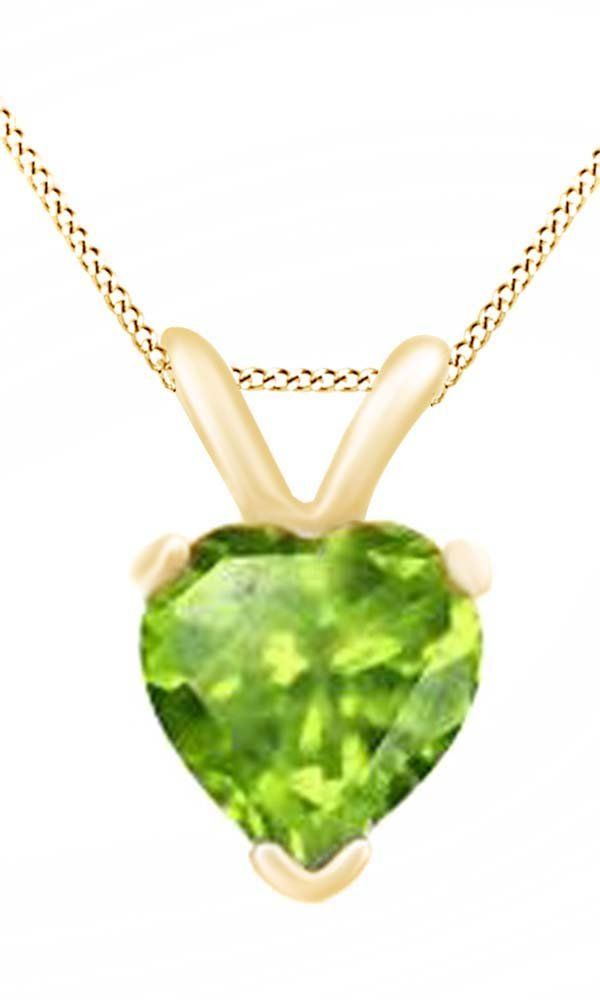 Heart Cut Solitaire Peridot August Birthstone Pendant Necklace In 10K Yellow Gold (5 Cttw). Adds A Touch Of Nature-Inspired Beauty To Your Look Heart Cut Solitaire Pendant Necklace In 10K Yellow Gold Makes a Standout Addition to Your Collection with 5 Carat August Birthstone Peridot. Gold is a dense, soft, shiny, malleable, and ductile metal, Gold is a synonym for wealth and money even though in the modern world it is neither. Perfect gift idea for Christmas, party, wedding, engagement...