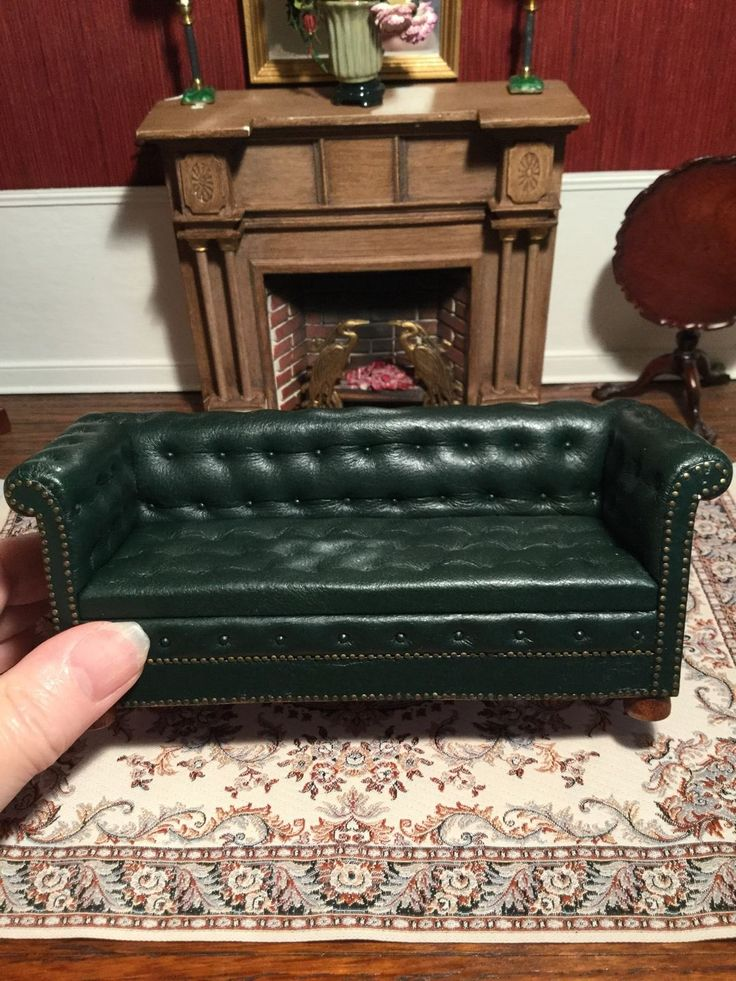 Miniature Artisan Signed Gail Steffey Leather Chesterfield
