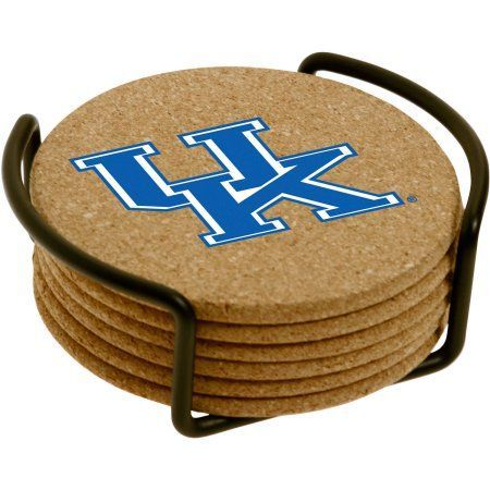 Set of Six Cork Coasters with Holder Included, University of Kentucky, Multicolor
