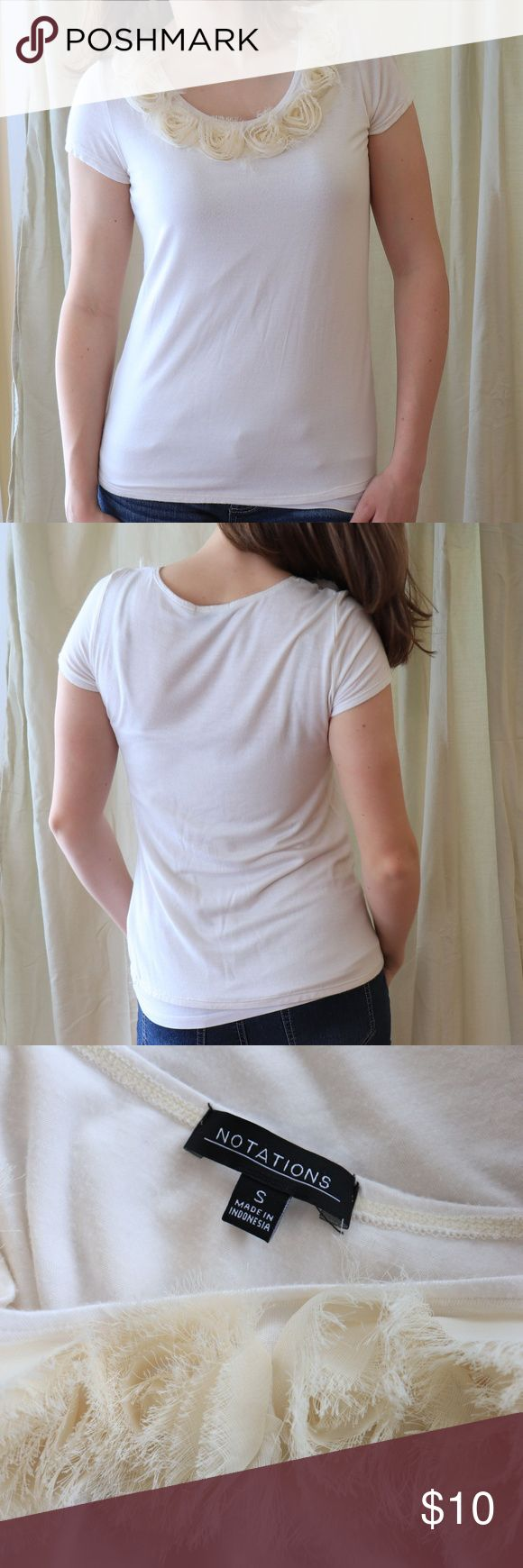 "Notations White Bouse Simple off-white blouse with (intentionally) fraying sheer rose accents. Scoop neck. Size small. In good condition. No flaws except a small amount of pilling. I'm 5'7"", approx. 135 lbs. and it fits me well. Notations Tops Blouses"