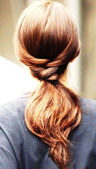 17. Braided Ponytail Get the best of both worlds with this braided ponytail hairstyle for long hair. Divide your hair at the back into two sections. Start