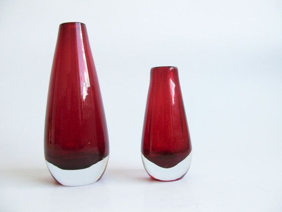 Ruby Red Teardrop Vase by Tamara Aladin for by OldishButGoldish