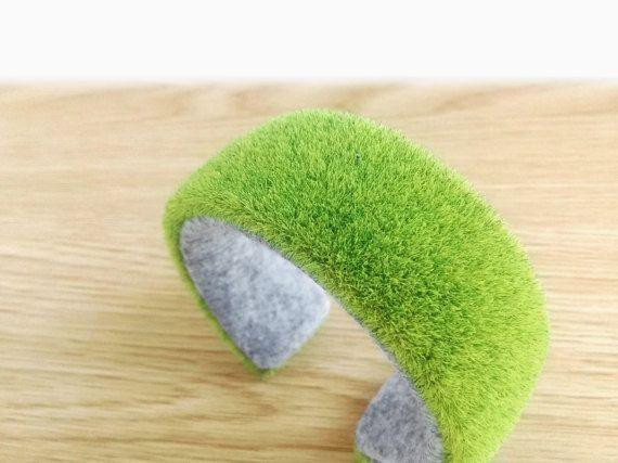 Grass Lawn green unique bracelet bangle felt natural by FodCraft