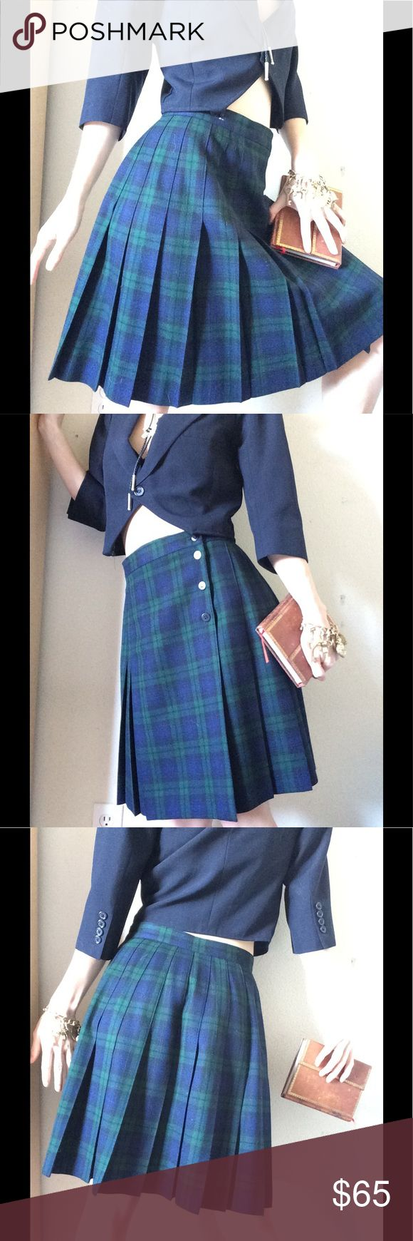 Perfect Score Plaid Schoolgirl Pleated Skirt High High waisted punk skirt with pleats. So amazing. Excellent condition. Smoke-free home. 100% wool. Not itchy. Made in USA. I think the brand label says VGR. Wrap around yourself and button up the side. Preppy flirty and sexy. Original good girl uniform style. Green and navy blue. Cosplay. Dress up like Brittany Spears or a gothic queen. Label says size 8 measurements laying flat soon Vintage Skirts Mini