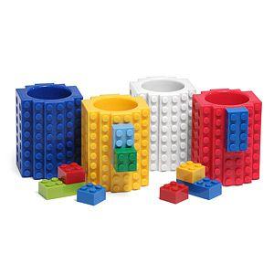 ThinkGeek :: Build-On Brick Shot Glass 4-Pack