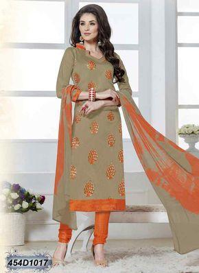 Alluring Beige Coloured Chanderi Silk unstitched salwar suit