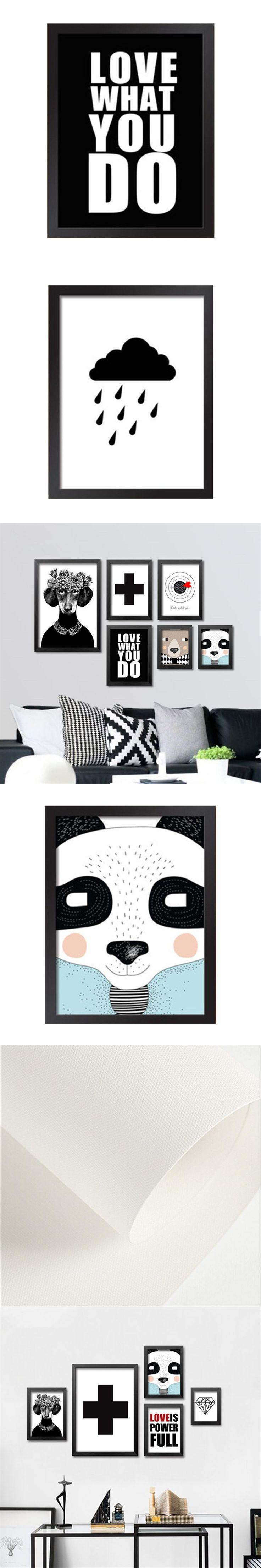 frameless modern nordic minimalist black white dog art canvas prints and posters wall pictures for kids