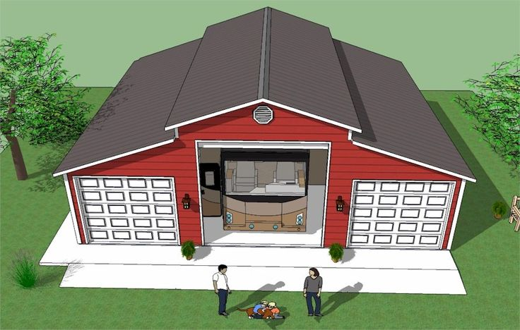 Large RV garage with truck and boat garages
