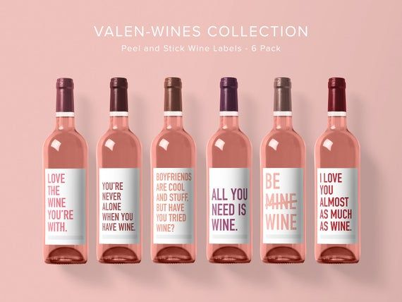 Valentine S Wine Label Collection Wine Label 6 Pack Funny Wine Labels Wine Label Wine Bottle In 2020 Valentines Wine Funny Wine Labels Wine Bottle