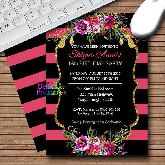 Birthday Party Invitations Blackboard Floral Invitation