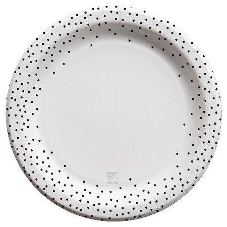 "Cheeky 10"" Paper Plates - designlovefest for Cheeky, Black Polka Dot Edge (30 ct) : Target"