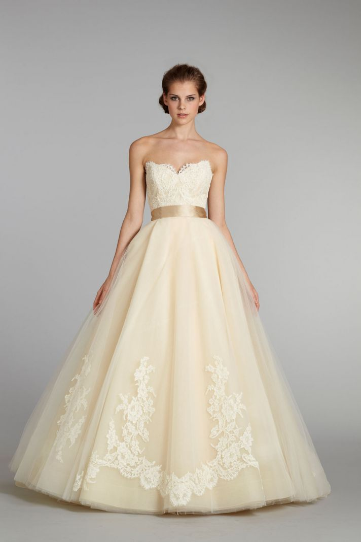 Yellow Wedding Dress Peach Peonies Bouquet See More LOVE The Lace On This Bodice